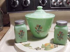 Jadite Grease Jar with Lid & Salt & Pepper Shakers