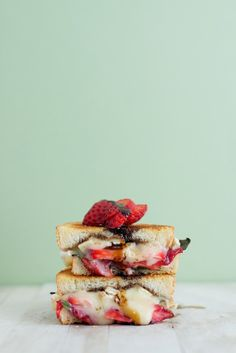 On the grilled cheese train! Strawberry, Balsamic, Basil, & Brie Grilled Cheese