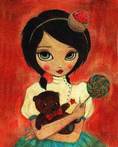 Girl Art Print, Children's Art, Girls Room Art, Poster, Girls Room Decor, Cute, Whimsical, Candy, Art for Girls - Dollipop 8x10 Print. $10.00, via Etsy.