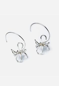 Sculptural Silver Wire Blossom Earrings