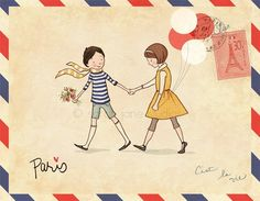 little postcard to paris studio, wall art, postcards, paris, envelopes, illustrations, nursery rooms, art prints, letters