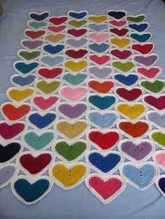#crochet hearts afghan by Little Squirrel Designs