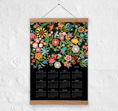 Wallcalendar Flowers 2014  wall decor  100 recycled by DURIDO, $21.00
