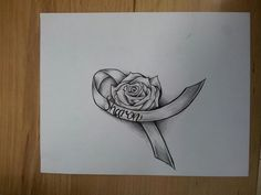 rose and cancer ribbon tattoo, cancer rose, rose ribbon