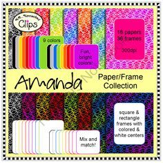 Amanda Frames and Paper Collection from KB Konnected Clips on TeachersNotebook.com -  (52 pages)  - Amanda Frames and Paper Collection