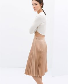 {coated pleated skirt in nude pink - ZARA spring 2014 - under $100}