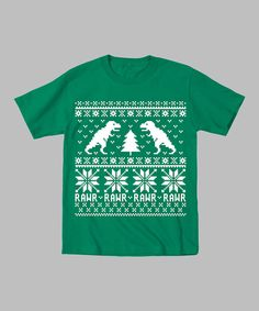 Kelly Green Dinosaur & Christmas Tree Tee - I want one for me!