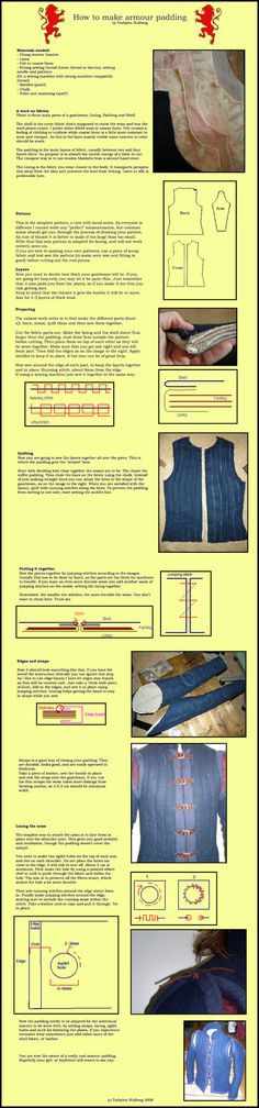 how to make armor padding: I really like this tutorial. Sums up everything you need to say and provides excellent pictures.