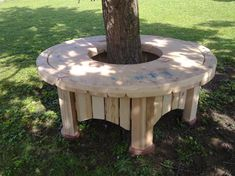 wooden wire spools bench around tree