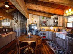 Love this rustic kitchen!