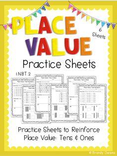 Place Value FREEBIE! Tens & Ones practice sheets. 1.NBT.2