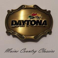 Vintage 1978 DAYTONA NASCAR RACING BELT BUCKLE Brass & Enamel Raintree