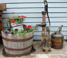 Organized Clutter: Potting Bench, Whiskey Barrels, and Hanging Pails