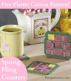 Free Spring Fling Coasters Plastic Canvas Pattern -- Download this free plastic canvas coaster pattern from Freepatterns.com.
