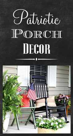 The red, white and blue!  Porch decorating for the 4th of July. [ Thesterlinghut.com ] #holiday #personalized #sterling