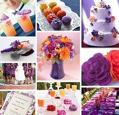 Orange and purple fall wedding color scheme