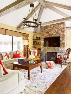 100's of Indoor Fireplace Ideas. Thanks To NJ Estates Real Estate Group  http://www.njestates.net/ warm colors, home interiors, exposed beams, decorating ideas, design interiors, living room designs, live room, stone fireplaces, home interior design