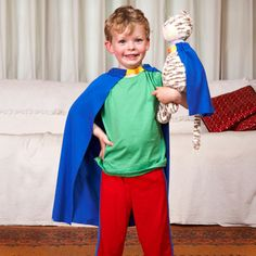 Custom Cape from FamilyFun, simple knit fabric cape with ribbon collar, attached with velcro - make small one for animal/doll friend