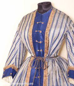 RARE Civil War Era Gown w Union Military Influence