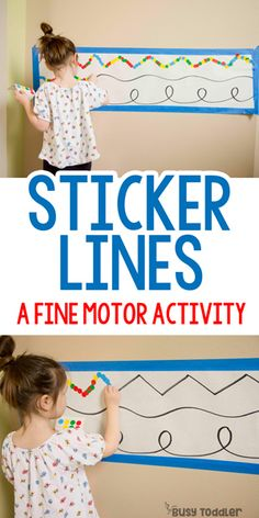Sticker Lines: Fine Motor Activity; quick and easy toddler activity; dot sticker activity; preschool activity from Busy Toddler