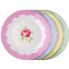 Cath Kidston - Set of 4 Provence Rose Dessert Plates