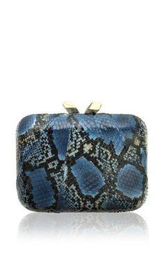 Large Morley Snakeskin Clutch In Blue by Kotur for Preorder on Moda Operandi