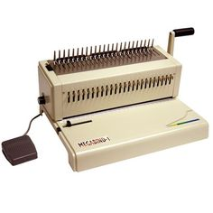"""The Akiles MegaBind 1E is one of the most complete and professional punch and bind peices of equipment in its market. It's all metal construction is built to last and it includes a 14"""" punching throat for legal sized documents. With all metal construction and a heavy duty electric motor the Megabind 1E is built to last and will stand up to almost any application."""