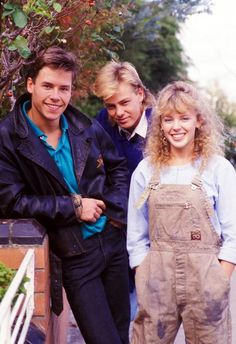 Mike, Scott And Charlene (Guy Pearce, Jason Donovan and Kylie Minogue) Neighbours