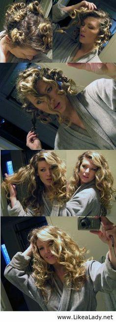 damp hair, style, tighter curl, makeup, fingers, curls, hairstyl, beauti, sleep