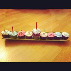 Cupcake Menorah. Happy Hannukah.