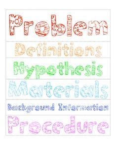 printable science fair title labels project