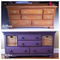 Purple refurbished dresser with baskets