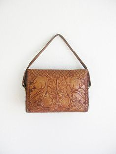 Vintage 1970's Tooled Leather Squirrel Purse I had a couple similar to this  my daughters took them.