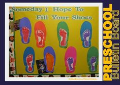"""""""Someday I Hope to Follow In Your Shoes"""" is a wonderful idea for a title for a Father's Day bulletin board display."""