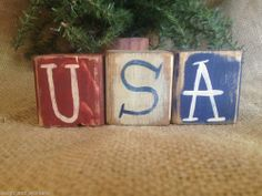 Primitive Americana Patriotic Red White Blue USA Shelf Sitter Cube Blocks Home #NaivePrimitive