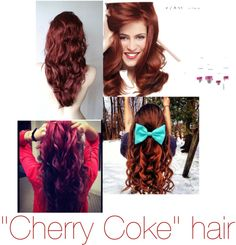 """""""""""Cherry Coke"""" hair color. Brown with a hint on bright red. Soo wanna do this on my hair."""" by makenziesoileau on Polyvore"""