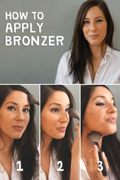 Bronzing made EASY: Get a natural, summer glow by sweeping the bronzer across your nose and forehead and blending the color into your neck. Click through to shop all the products you'll need to get your bronze on!
