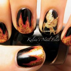 Hunger games ( Girl on fire nails) !!!!!! So cute