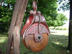 Antique / Vintage Cast Iron Starline  Barn Pulley Old Farm Tool Hay Loft Rustic - Hang a light from this pretty little thing!