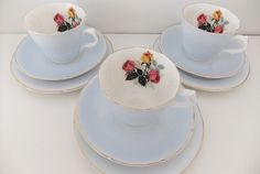 Shabby chic Royal Grafton bone china tea cups, saucers and tea plates