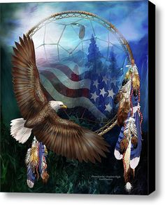 Dream Catcher - Freedom    Stretched Canvas Print / Canvas Art By Carol Cavalaris
