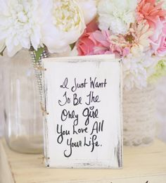 Bridal Shower Guest Book Shabby Chic Wedding Decor Band Perry All Your Life Lyrics -$34.99