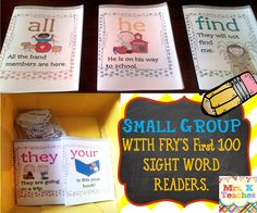 Great idea for mastery. Using Fry's first 100 sight word mini books for small groups. Students will love reading all these fun engaging books. Print 2 per page to make the books from the poster set. Paid item.