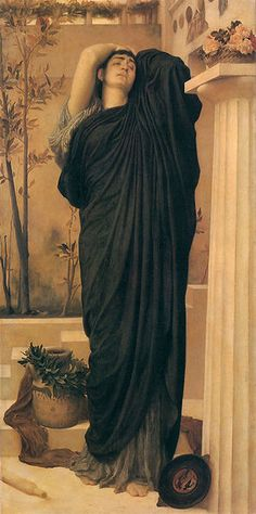 """Electra at the Tomb of Agamemnon"" by Frederic Leighton. This scene also takes place in Aeschylus's play ""The Libation Bearers""."