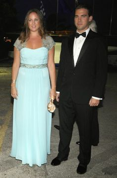 Princess Theodora of Greece and Denmark (L) and her youngest brother Prince Philippos of Greece arrive for a private dinner event for their parents Golden wedding anniversary at the Yacht Club of Greece in Piraeus, Greece, 18.09.2014.