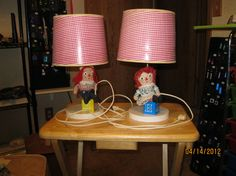 Vintage Raggedy Ann and Andy Lamps