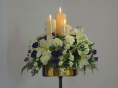 Church Flowers | Church Candle Flower Arrangment
