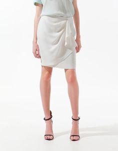 front gathered skirt - ZARA United States