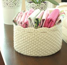 Crochet Storage Basket with Lace Edge  Off White by hennasboutique