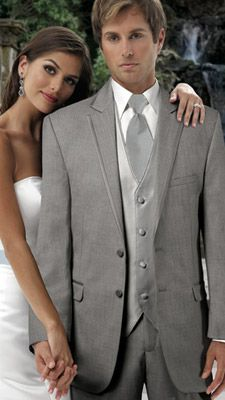 Grey Tux with silver tie and vest